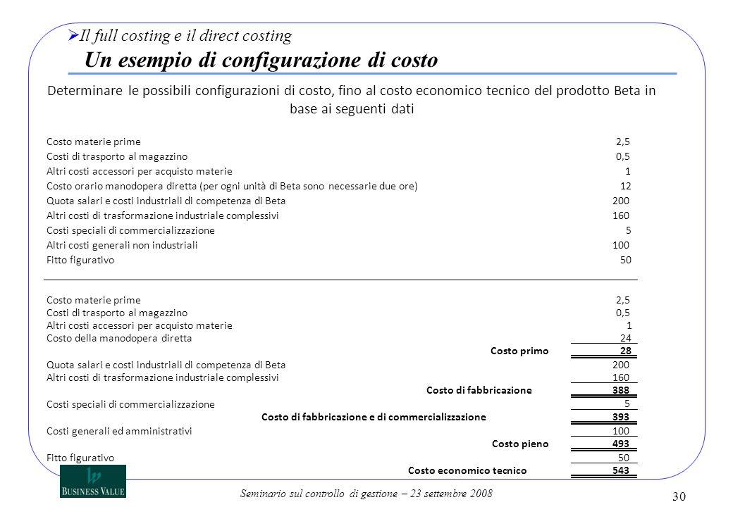 Il full costing e il direct costing Un esempio di configurazione di costo