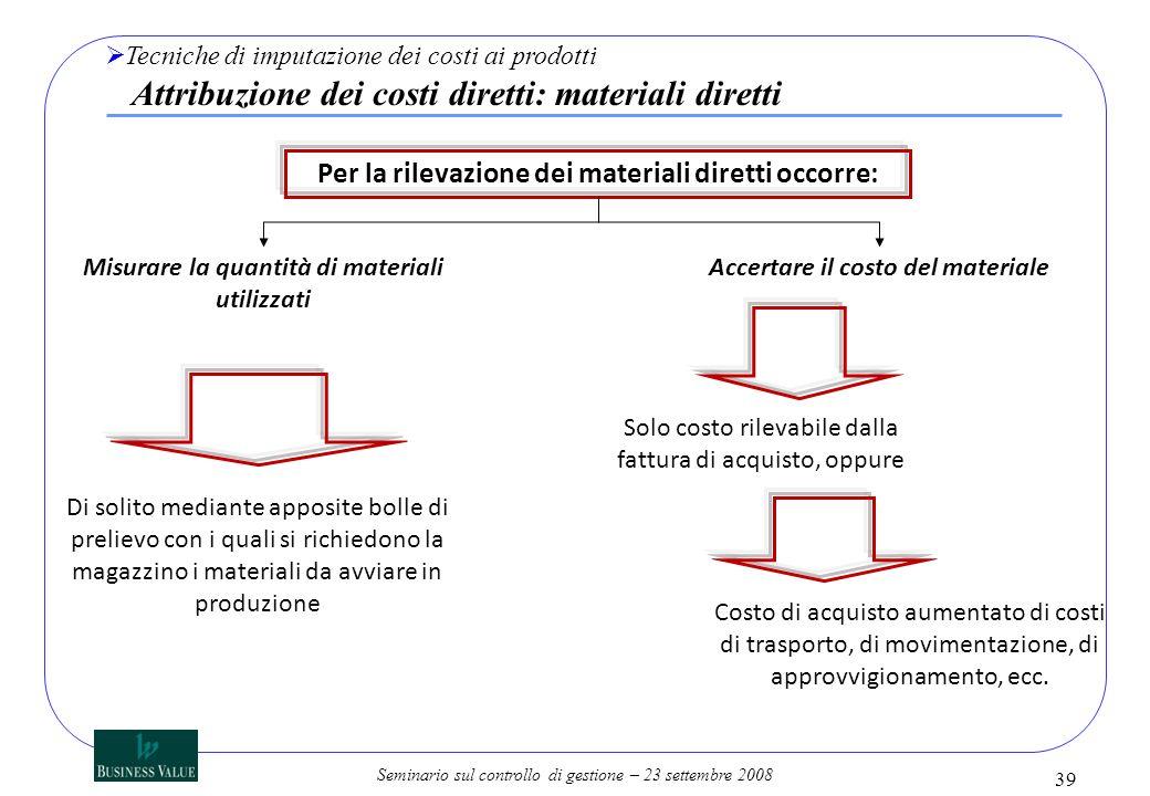 Per la rilevazione dei materiali diretti occorre: