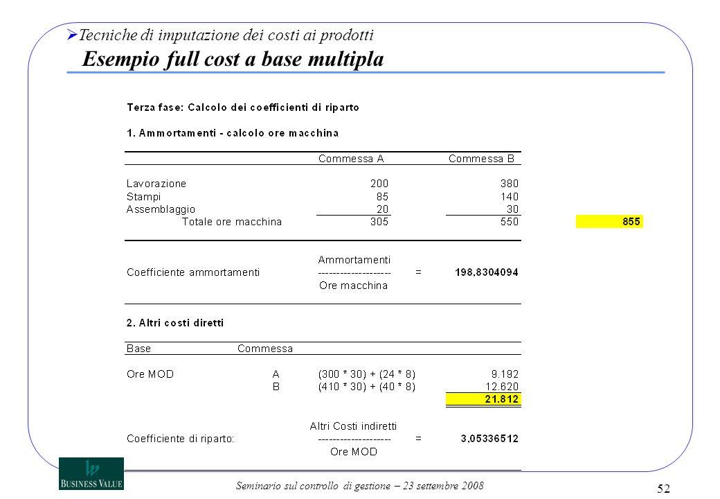 Tecniche di imputazione dei costi ai prodotti Esempio full cost a base multipla