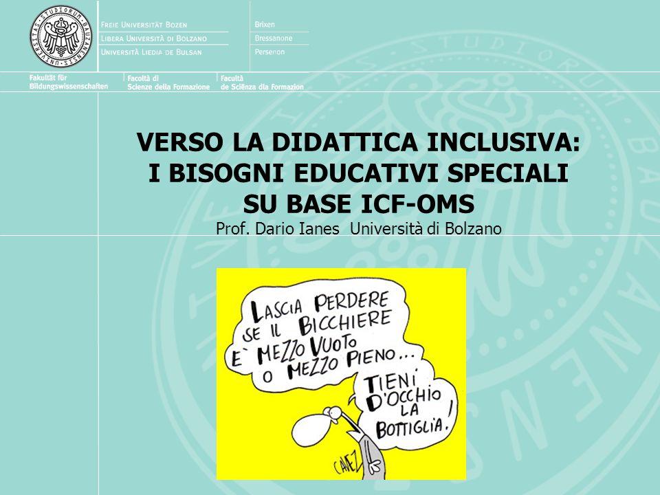 VERSO LA DIDATTICA INCLUSIVA: I BISOGNI EDUCATIVI SPECIALI SU BASE ICF-OMS Prof.