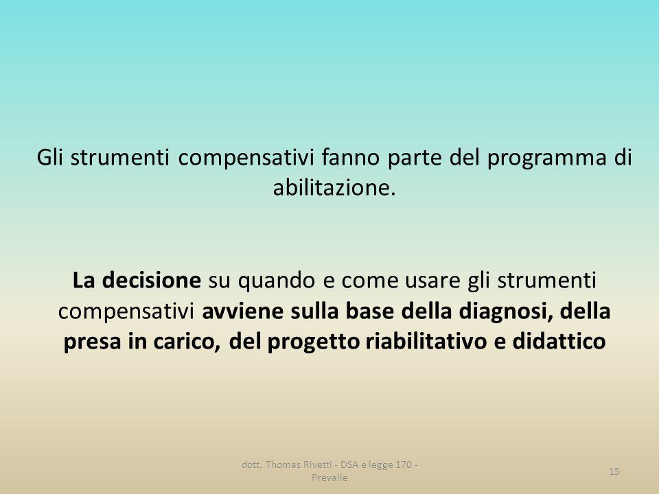 Gli strumenti compensativi fanno parte del programma di abilitazione.