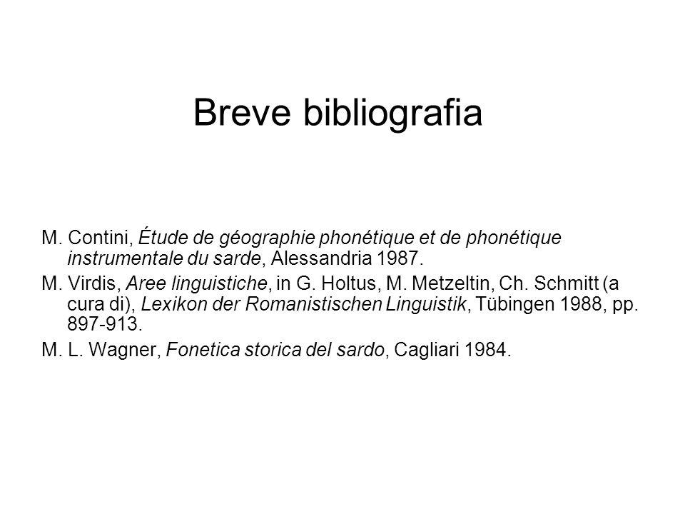Breve bibliografia M. Contini, Étude de géographie phonétique et de phonétique instrumentale du sarde, Alessandria 1987.