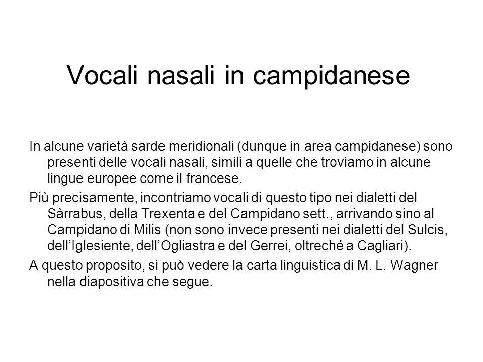 Vocali nasali in campidanese
