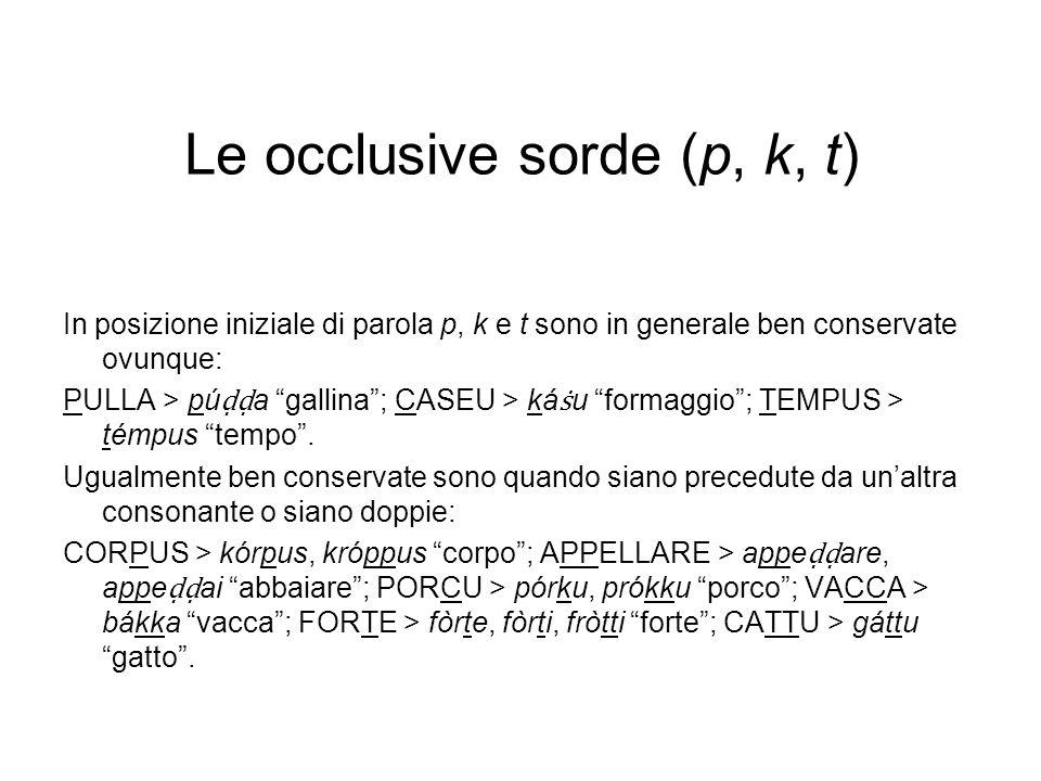 Le occlusive sorde (p, k, t)