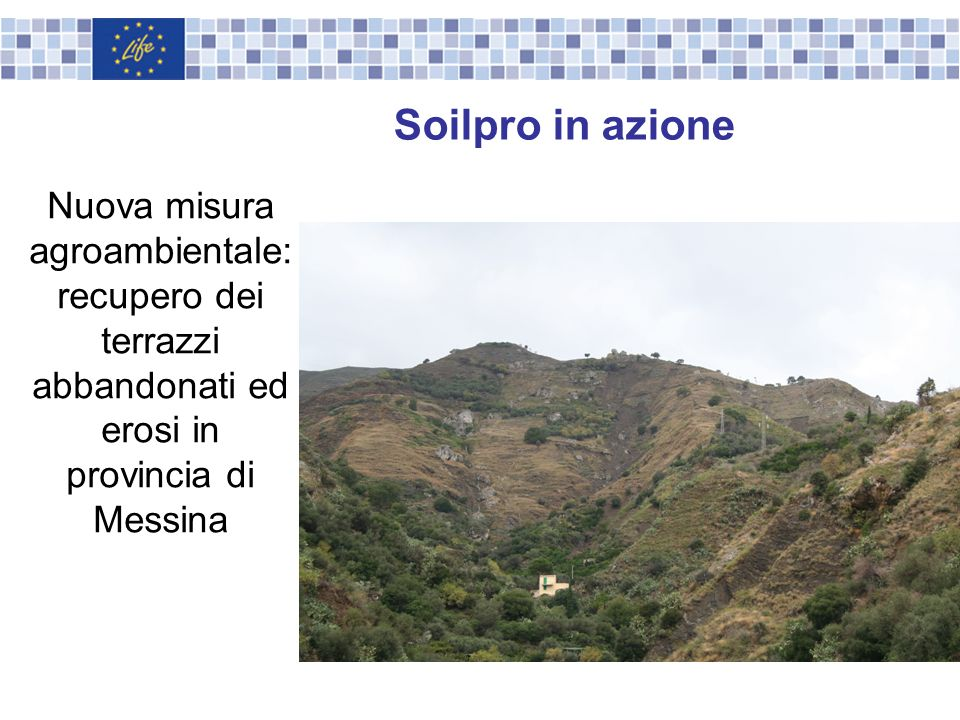 Soilpro in azione Nuova misura agroambientale: recupero dei terrazzi abbandonati ed erosi in provincia di Messina.