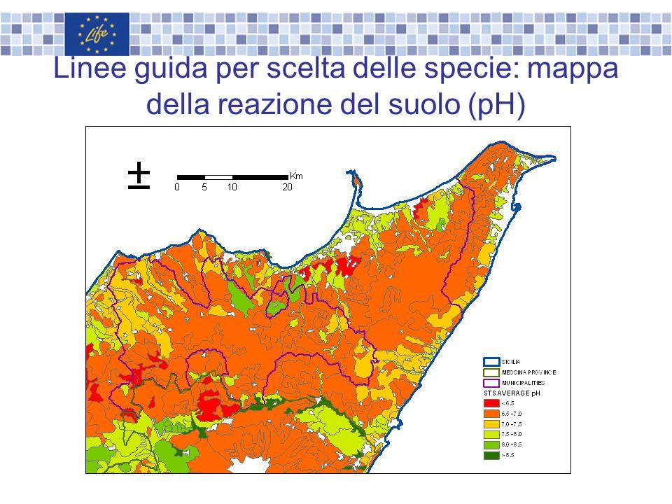 Linee guida per scelta delle specie: mappa della reazione del suolo (pH)