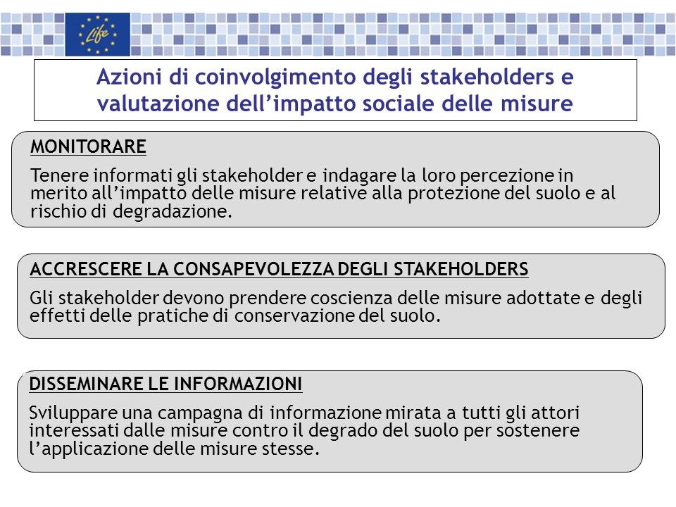 Azioni di coinvolgimento degli stakeholders e valutazione dell'impatto sociale delle misure