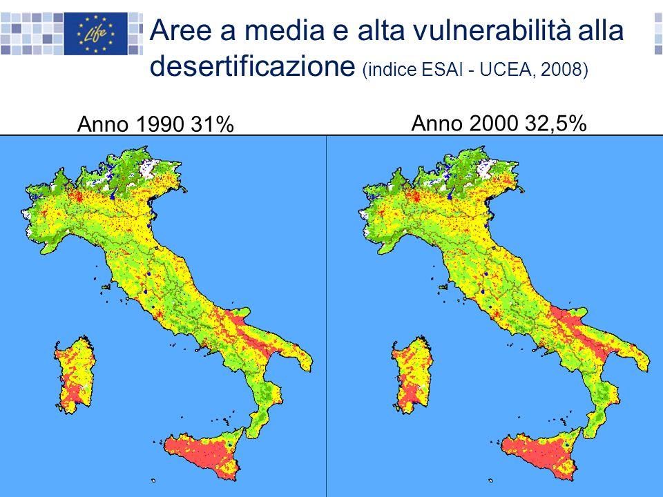 Aree a media e alta vulnerabilità alla desertificazione (indice ESAI - UCEA, 2008)