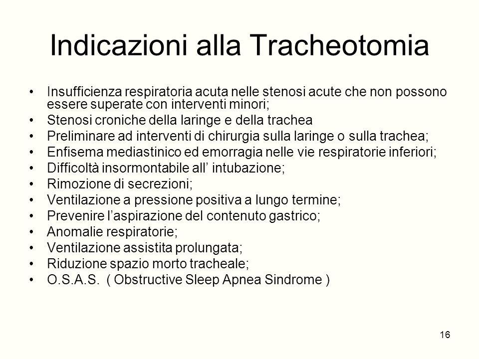 Indicazioni alla Tracheotomia