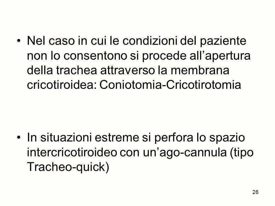 Nel caso in cui le condizioni del paziente non lo consentono si procede all'apertura della trachea attraverso la membrana cricotiroidea: Coniotomia-Cricotirotomia