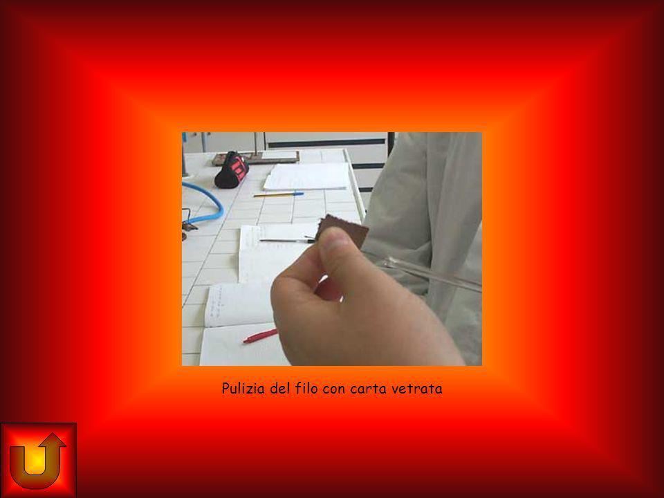 Pulizia del filo con carta vetrata