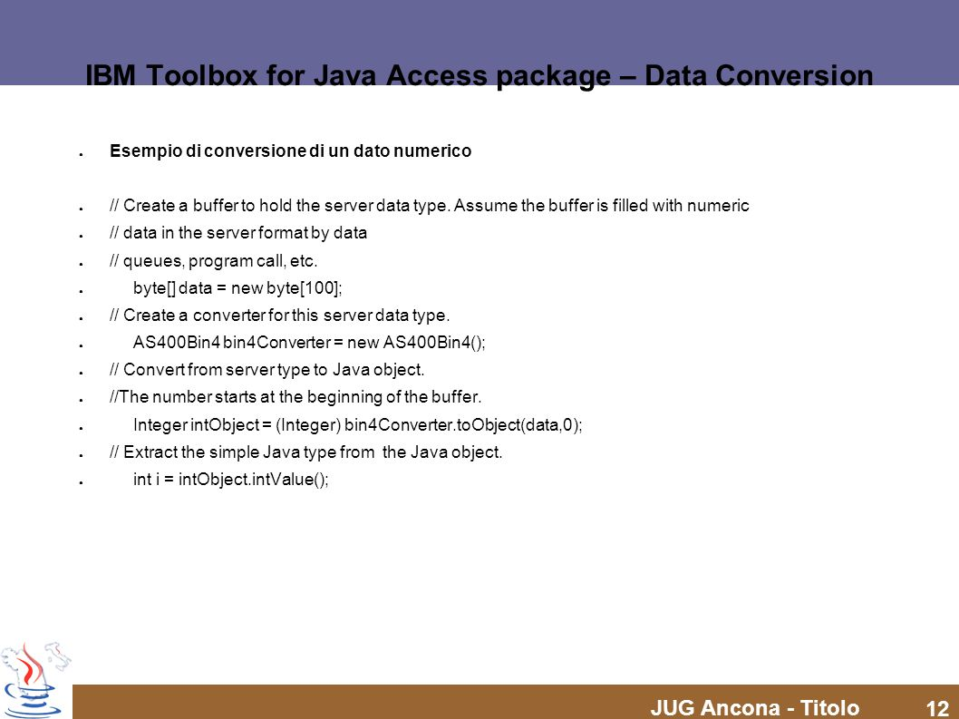 IBM Toolbox for Java Access package – Data Conversion