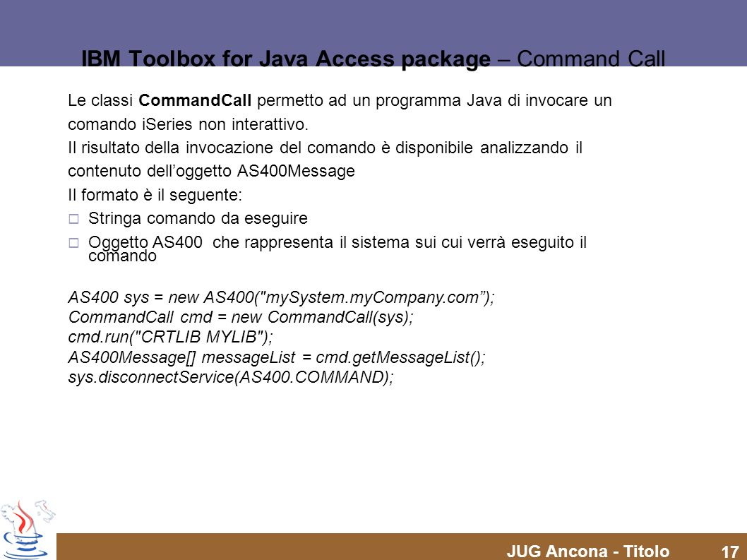 IBM Toolbox for Java Access package – Command Call