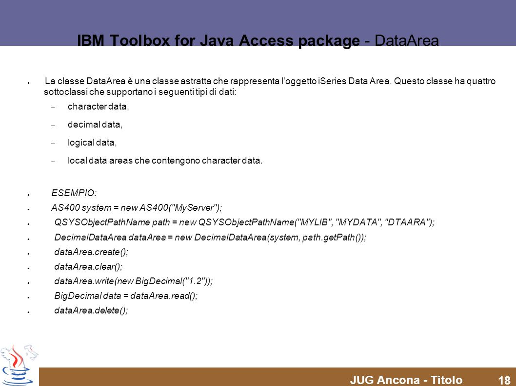 IBM Toolbox for Java Access package - DataArea