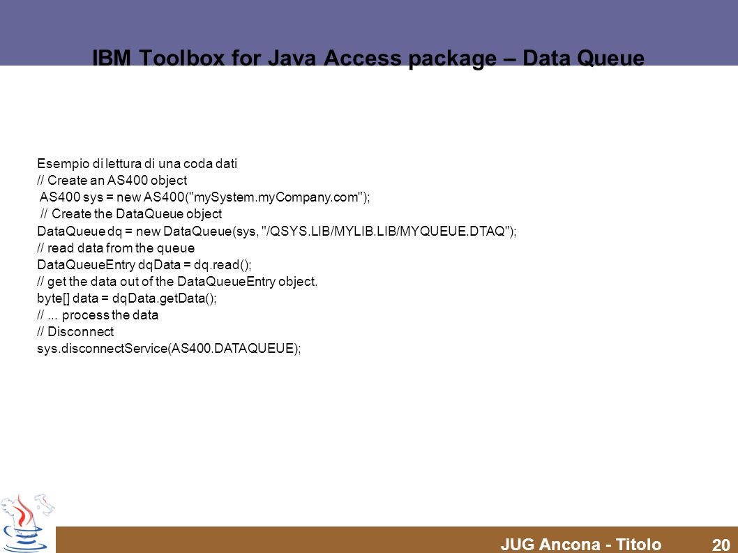 IBM Toolbox for Java Access package – Data Queue
