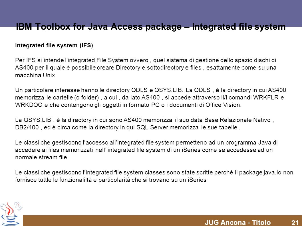 IBM Toolbox for Java Access package – Integrated file system