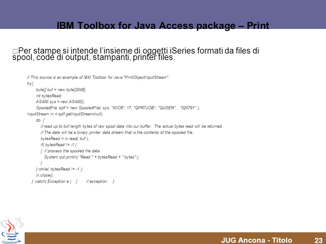 IBM Toolbox for Java Access package – Print