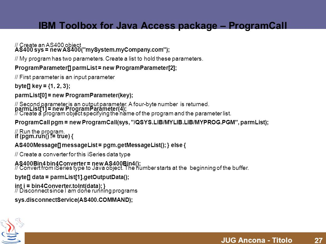 IBM Toolbox for Java Access package – ProgramCall