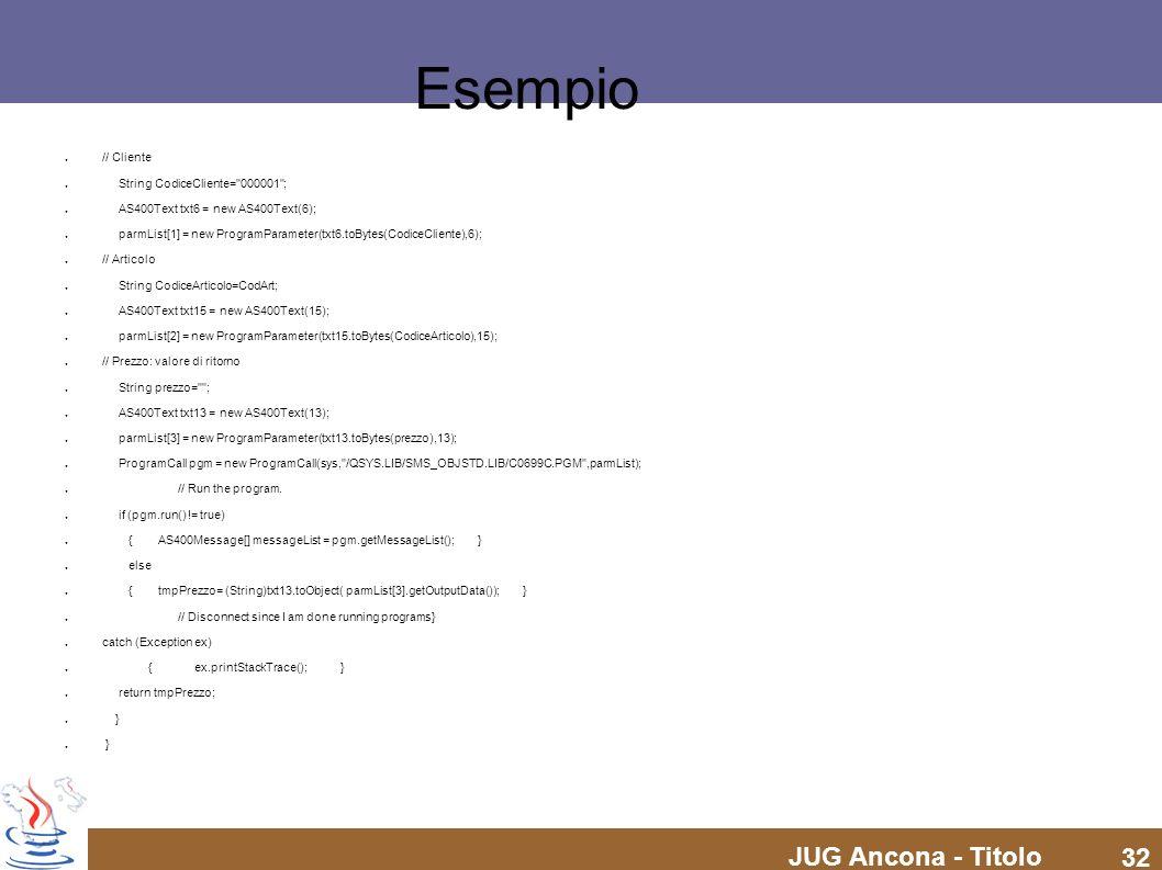 Esempio // Cliente String CodiceCliente= 000001 ;