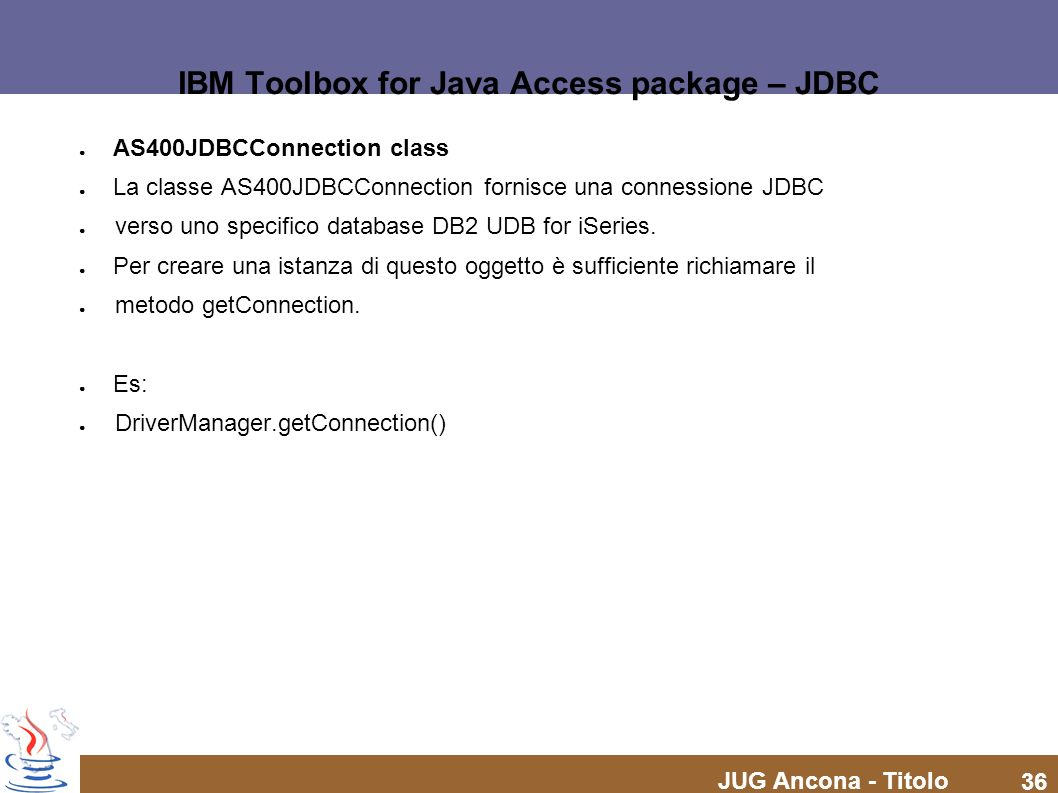 IBM Toolbox for Java Access package – JDBC