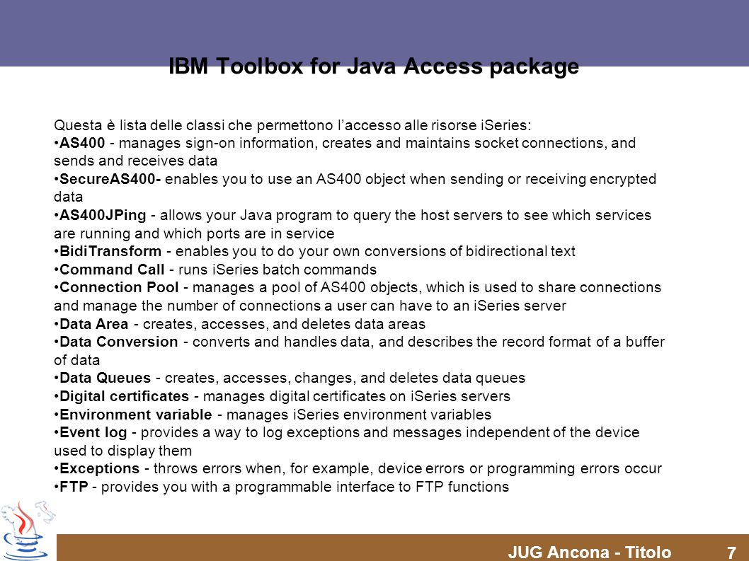 IBM Toolbox for Java Access package