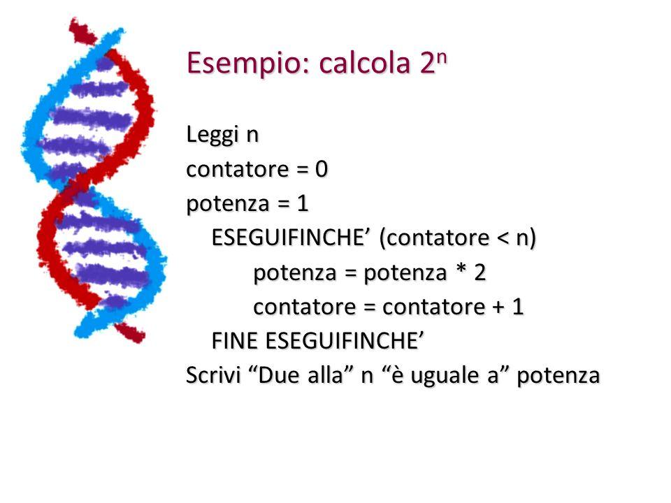 Esempio: calcola 2n Leggi n contatore = 0 potenza = 1