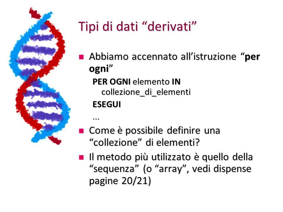 Tipi di dati derivati