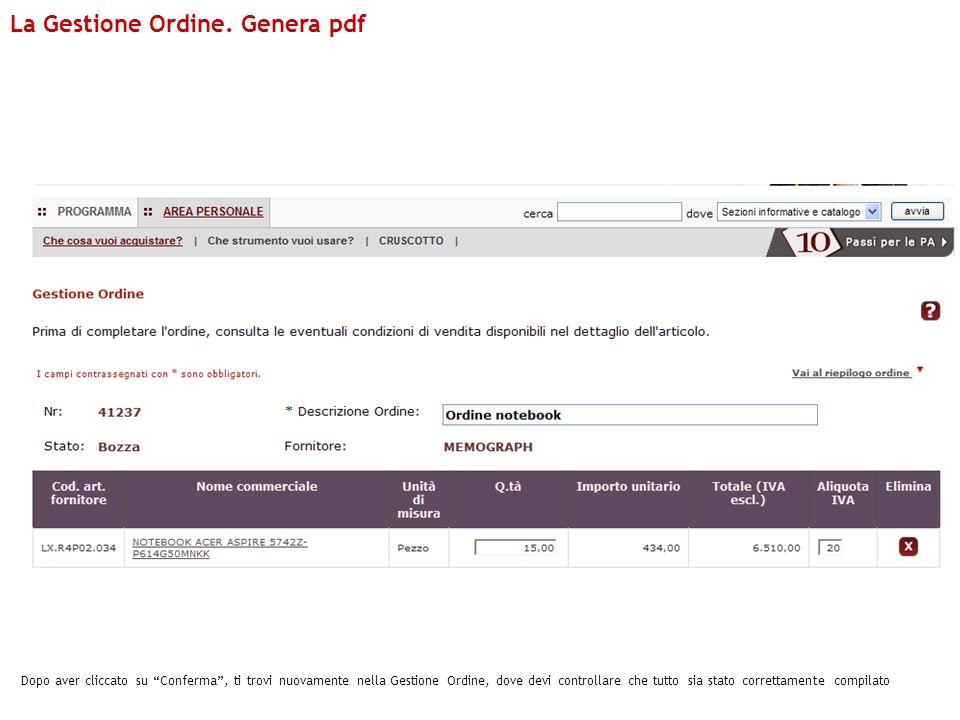 La Gestione Ordine. Genera pdf