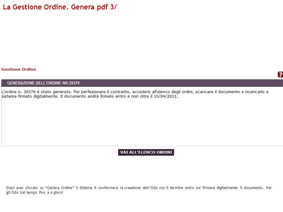 La Gestione Ordine. Genera pdf 3/