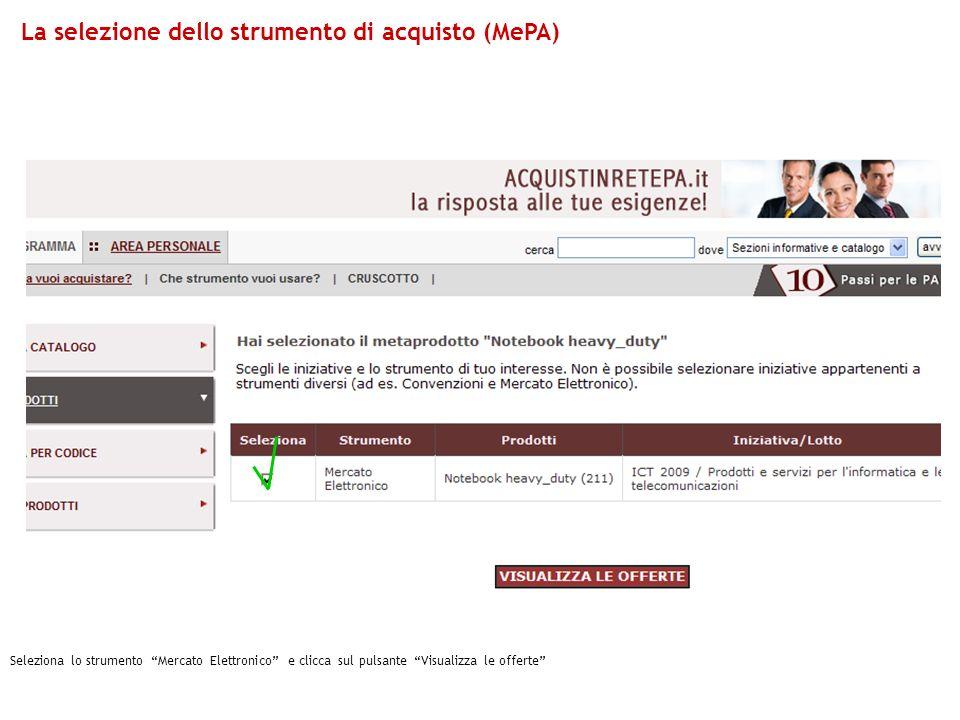 La selezione dello strumento di acquisto (MePA)