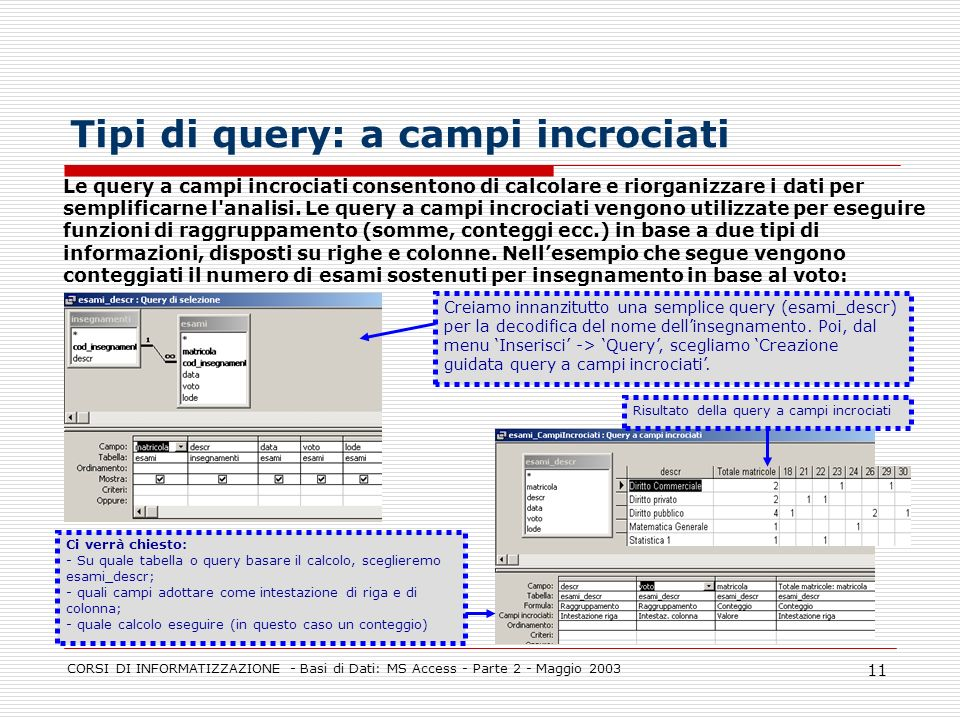 Tipi di query: a campi incrociati