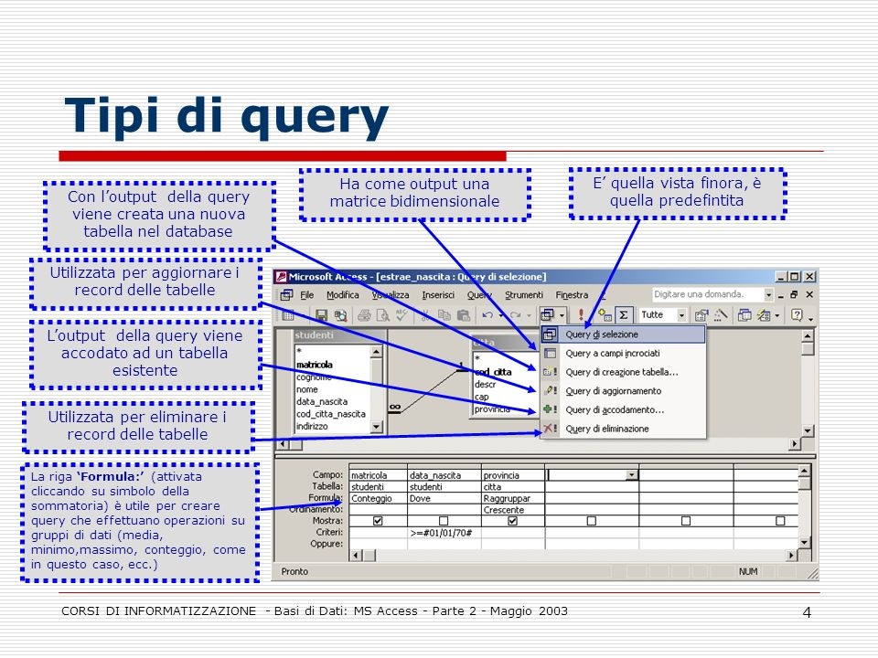 Tipi di query Ha come output una matrice bidimensionale