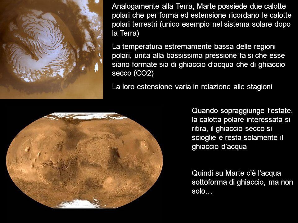 Analogamente alla Terra, Marte possiede due calotte polari che per forma ed estensione ricordano le calotte polari terrestri (unico esempio nel sistema solare dopo la Terra)