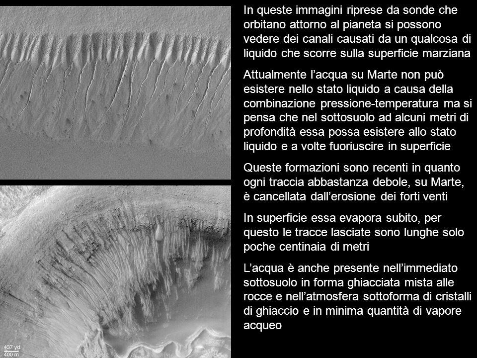 In queste immagini riprese da sonde che orbitano attorno al pianeta si possono vedere dei canali causati da un qualcosa di liquido che scorre sulla superficie marziana