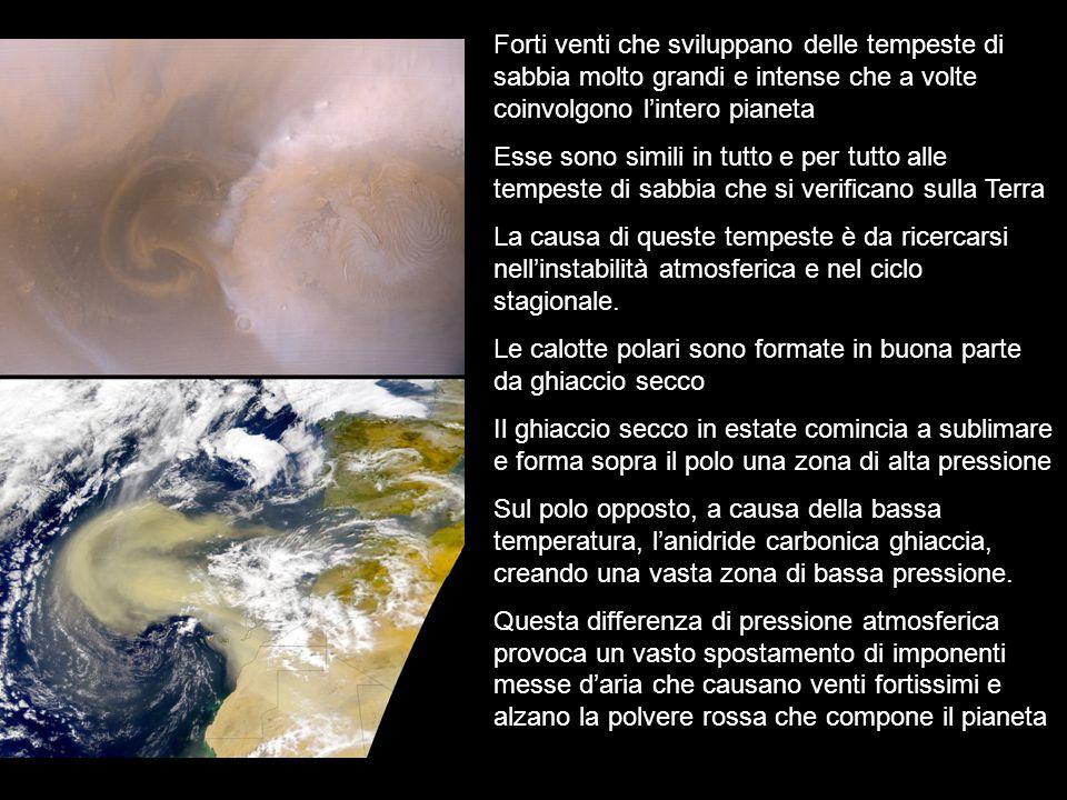 Forti venti che sviluppano delle tempeste di sabbia molto grandi e intense che a volte coinvolgono l'intero pianeta