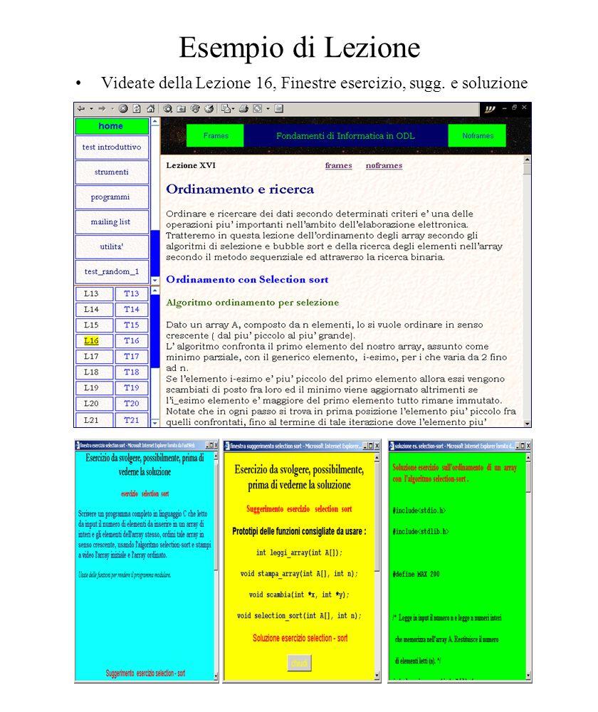 Esempio di Lezione Videate della Lezione 16, Finestre esercizio, sugg. e soluzione.