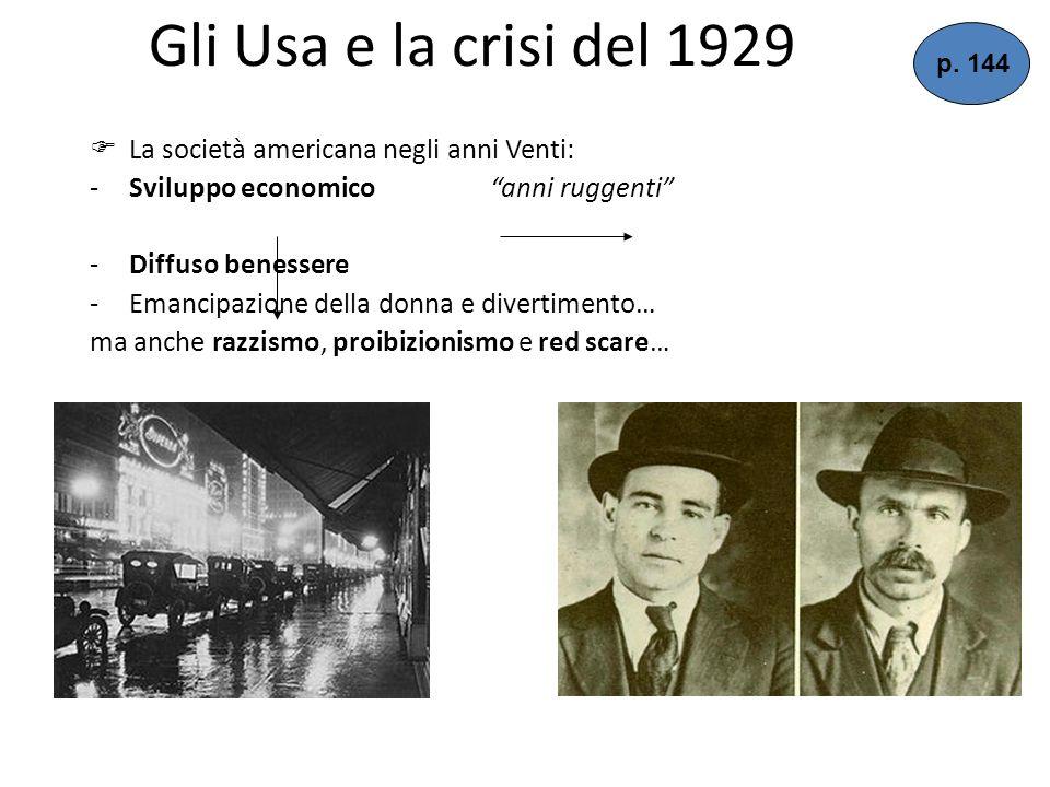 Gli Usa e la crisi del 1929 La società americana negli anni Venti: