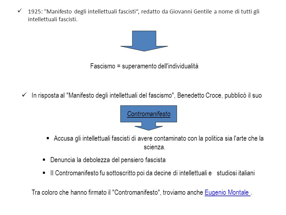 Fascismo = superamento dell individualità