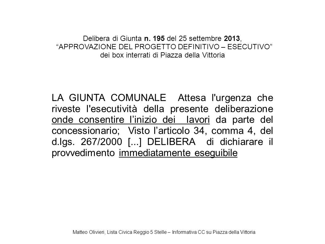 Delibera di Giunta n. 195 del 25 settembre 2013,