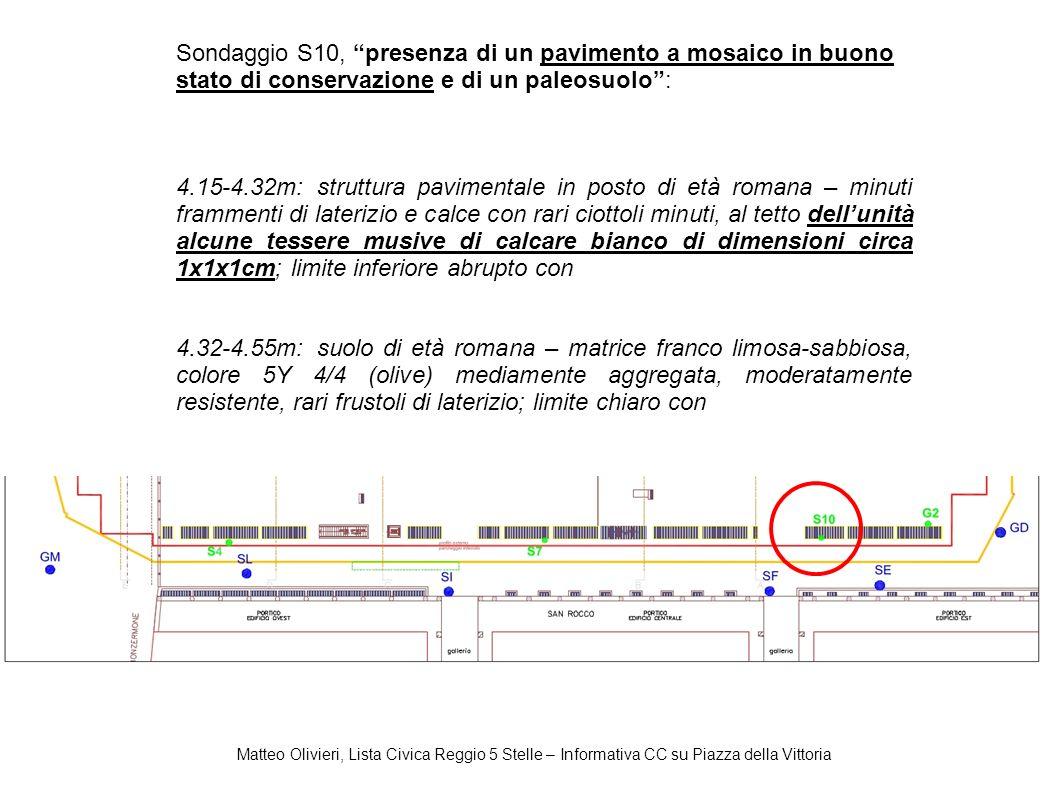 Sondaggio S10, presenza di un pavimento a mosaico in buono stato di conservazione e di un paleosuolo :
