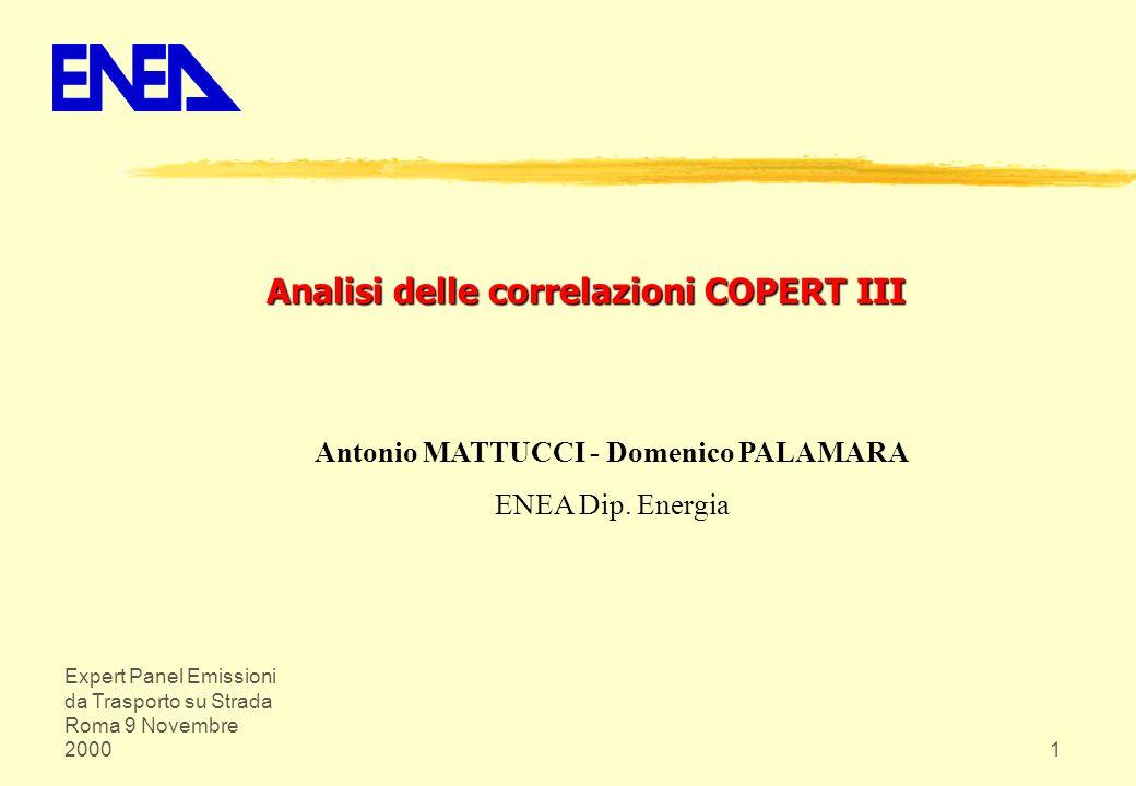 Analisi delle correlazioni COPERT III