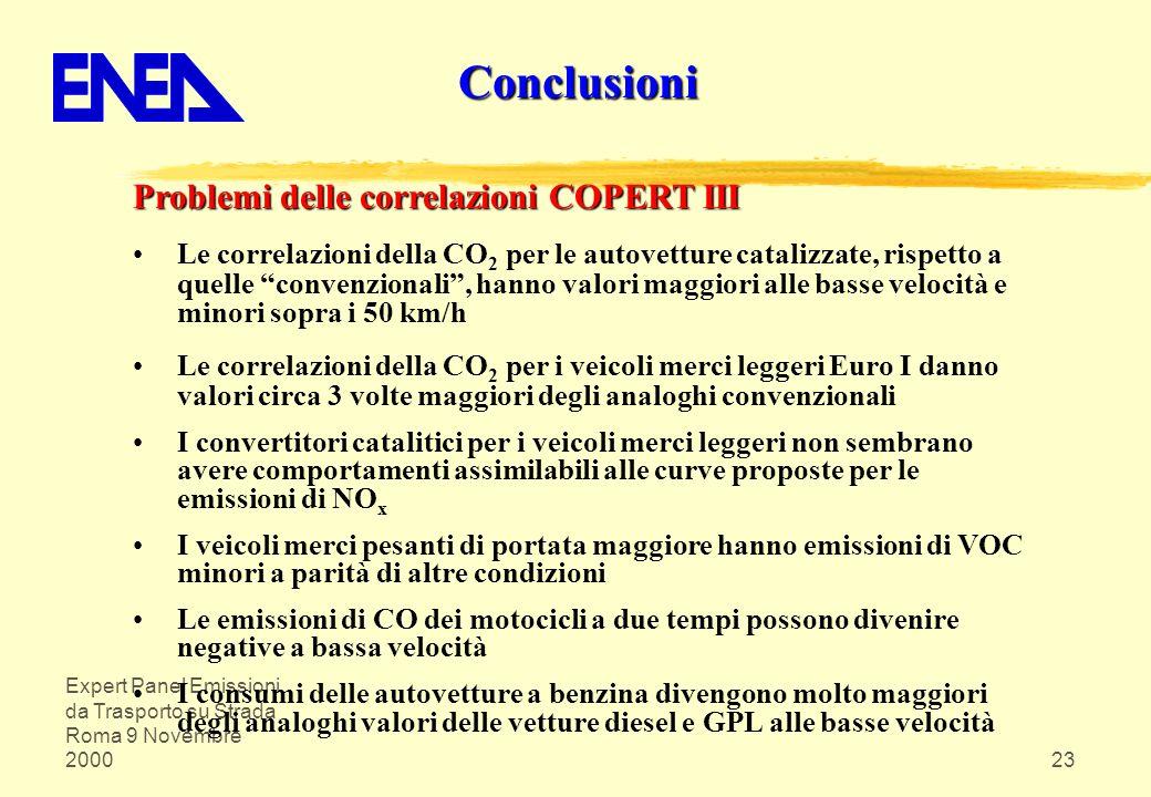 Conclusioni Problemi delle correlazioni COPERT III