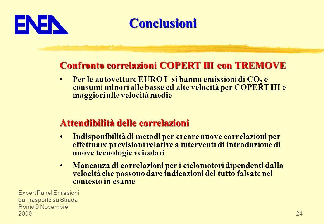 Conclusioni Confronto correlazioni COPERT III con TREMOVE
