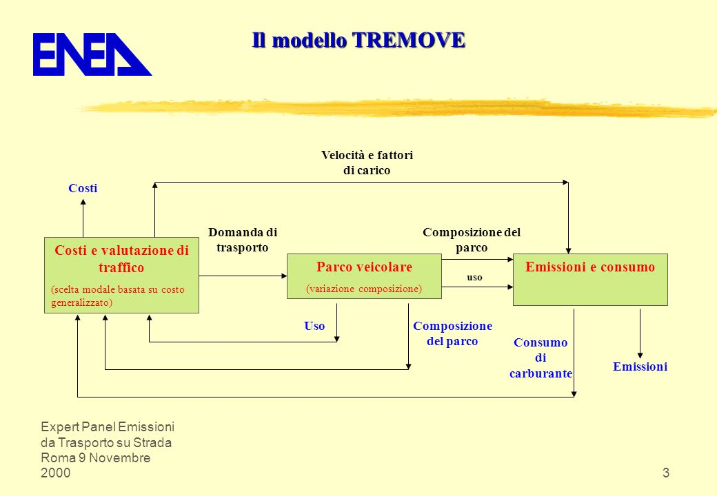Il modello TREMOVE Costi e valutazione di traffico Parco veicolare