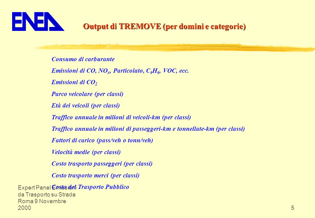 Output di TREMOVE (per domini e categorie)