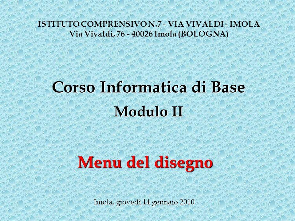 Corso Informatica di Base Menu del disegno