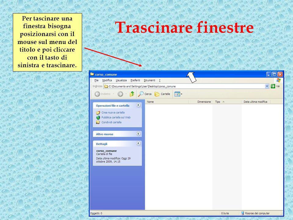 Per tascinare una finestra bisogna posizionarsi con il mouse sul menu del titolo e poi cliccare con il tasto di sinistra e trascinare.