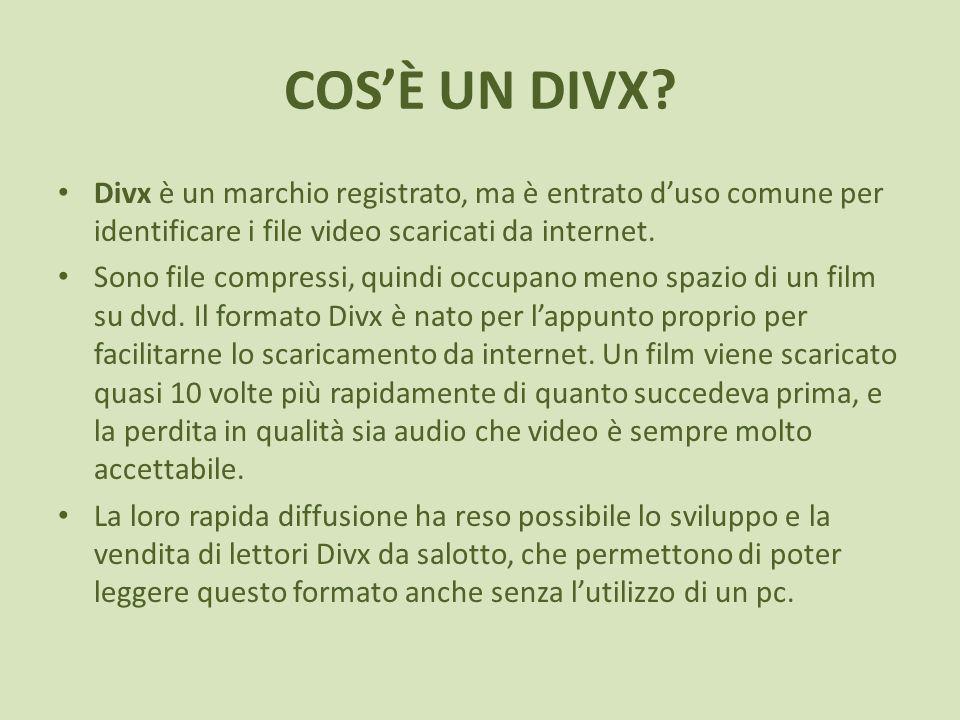 COS'È UN DIVX Divx è un marchio registrato, ma è entrato d'uso comune per identificare i file video scaricati da internet.