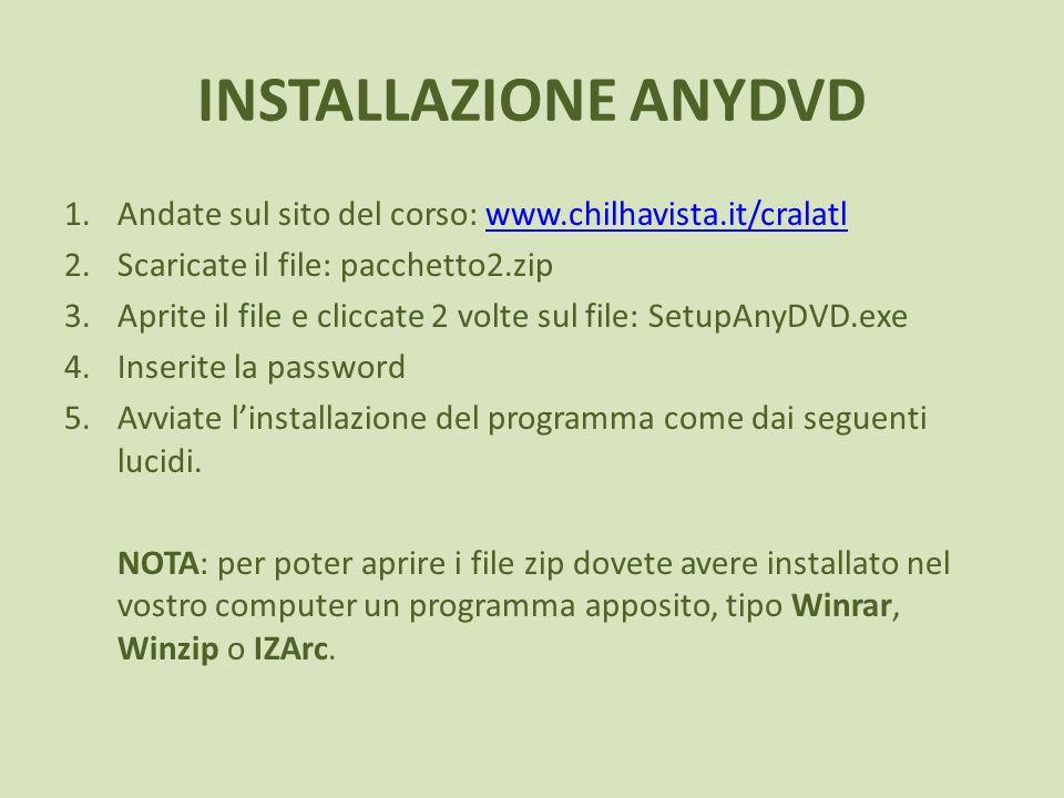 INSTALLAZIONE ANYDVD Andate sul sito del corso: www.chilhavista.it/cralatl. Scaricate il file: pacchetto2.zip.