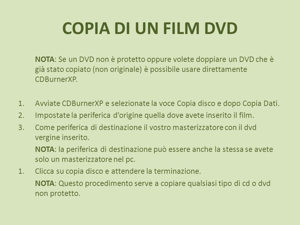 COPIA DI UN FILM DVD